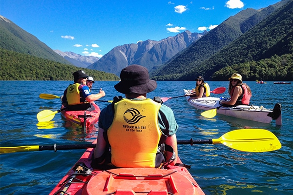 kayaking in nelson lakes national park on a secondary programme